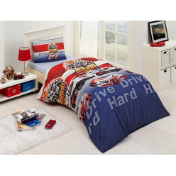 Детское постельное белье DRIVE креафорс синий с машинками