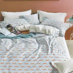 Турецкое постельное белье детское двустороннее сатин DELUX BRIAND голубое