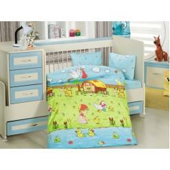 Детское постельное белье для новорожденных DREAM GARDEN зеленое с утятами