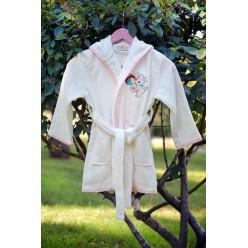 Халат бамбук детский с вышивкой KIDS кремовый для девочки