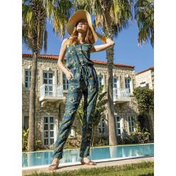 Женская пижама комбинезон-брюки дымчато бирюзовая с орнаментом