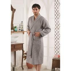 Мужской вафельный халат ALERON серый L