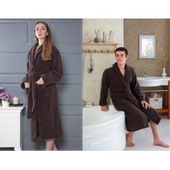 Махровый халат MORA унисекс коричневый 3 XL