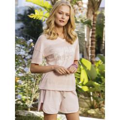 Женская пижама шортики и футболка нежно розовая