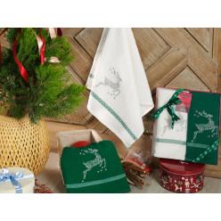 Подарочный набор вафельных полотенец на кухню из хлопка 2 шт HAPPY новогодние
