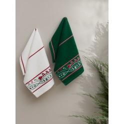 Новогодний подарочный набор махровых полотенец на кухню 2 шт CHRISTMAS V2