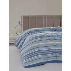 Голубой мягкий уютный хлопковый плед в полоску RAINBOW 150x200