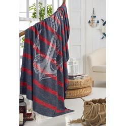 Мягкий хлопковый плед с бахромой MARINE CLUB 150x200 черный в красную полоску