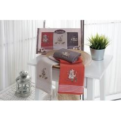 Подарочный набор вафельных полотенец на кухню из хлопка 3 шт SIOUS три цвета