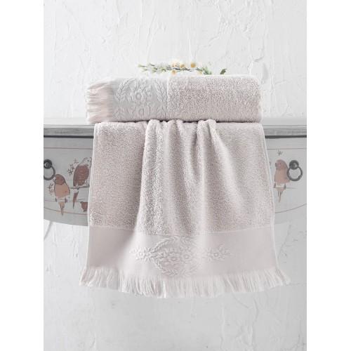 Махровое однотонное полотенце из хлопка для лица DIVA с бахромой