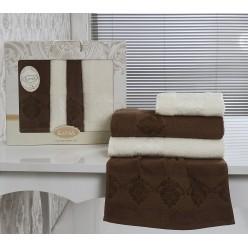 Комплект махровых полотенец KARNA жаккард DORA 2 шт.