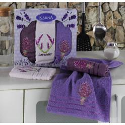Подарочный набор махровых полотенец на кухню из хлопка 3 шт LAVITA сиреневые