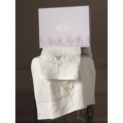Подарочный комплект махровых полотенец хлопок LILYAN сиреневый