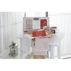 Подарочный набор вафельных полотенец на кухню из хлопка 3 шт TINA с чашкой кофе