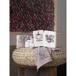 Подарочный набор махровых полотенец на кухню из хлопка 3 шт CAFE PRIMA