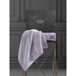 Подарочный комплект махровых полотенец c гипюром AMORA бежевый