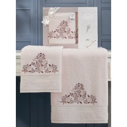 Подарочный комплект махровых полотенец с вышитыми цветами ABEL светло розовый