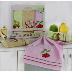 Подарочный набор махровых полотенец на кухню из хлопка 3 шт RUDDY ягоды и фрукты