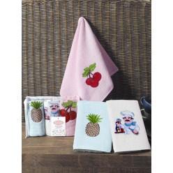 Подарочный набор махровых полотенец на кухню из хлопка 3 шт FRUCTUS с вкусным принтом