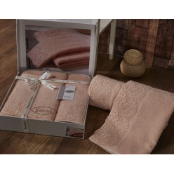 Комплект махровых полотенец c гипюром ELINDA кремовый