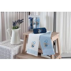 Подарочный набор вафельных полотенец на кухню из хлопка 3 шт MARINE