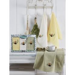 Подарочный набор вафельных полотенец на кухню из хлопка 3 шт BELDI