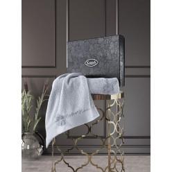 Подарочный комплект махровых полотенец хлопок с вышивкой SIENA серый