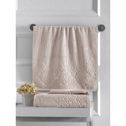 Махровое полотенце из хлопка для лица VERDA однотонное с интересным орнаментом
