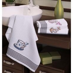 Подарочный набор вафельных полотенец на кухню из хлопка 3 шт FLORS белые с чашкой кофе