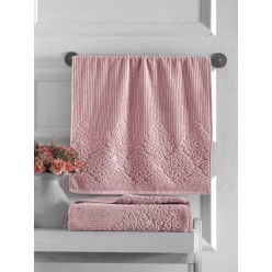 Махровое полотенце из хлопка банное VERDA кирпичное