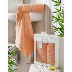 Подарочный комплект махровых полотенец бамбук PANDORA золотистый