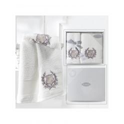 Подарочный комплект махровых полотенец хлопок DAVIS кремовый