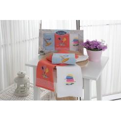 Подарочный набор вафельных полотенец на кухню из хлопка 3 шт KLORA