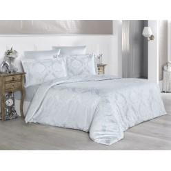 Турецкое постельное белье шелковый сатин жаккард евро VALERI однотонное