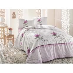 Постельное белье из ранфорса белое с розовыми розами 1,5 спальное ALMILA