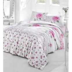 Постельное белье из ранфорса белое в розовый цветочек AHU евро