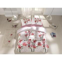 Постельное белье из ранфорса белое с красными цветами BLOOM евро