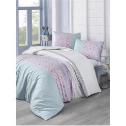 Постельное белье из ранфорса голубое в широкую полоску 1,5 спальное ESPINELA
