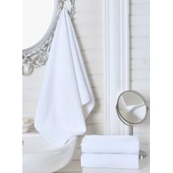 Полотенце махровое белое, гостиничное 100x150