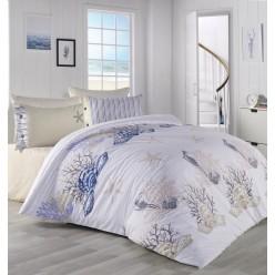 Турецкое постельное белье DENIZ YILDIZ евро белое с водорослями