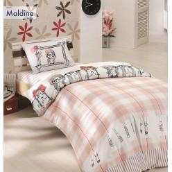 Детское постельное белье из ранфорса белое в клетку 1,5 спальное  MALDINE