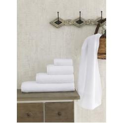 Полотенце махровое белое, гостиничное FORS 70x140