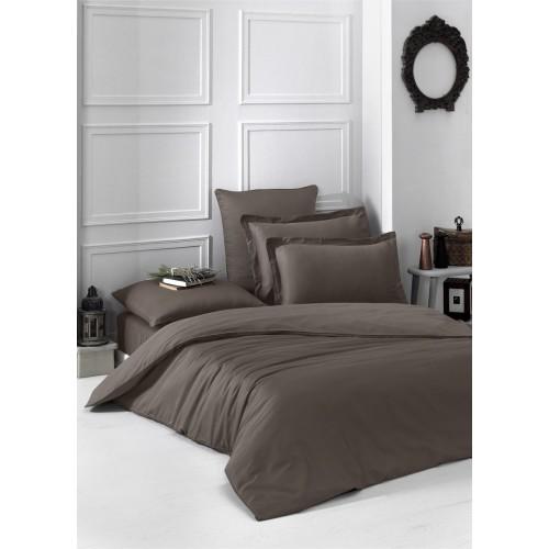 Турецкое постельное белье двустороннее однотонное сатин LOFT 1.5 спальное