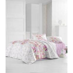 Постельное белье из ранфорса кремовое с розовыми цветами DEREN евро