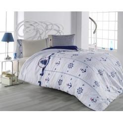 Детское постельное белье из ранфорса белое с якорями 1,5 спальное DORIS