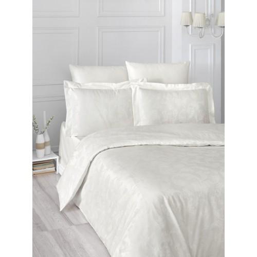 Турецкое постельное белье однотонное шелковый сатин жаккард евро ARIEL