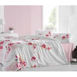Постельное белье из ранфорса белое с розовыми цветами ESNA евро