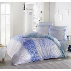 Постельное белье из ранфорса белое с орнаментом 1,5 спальное ELFIN