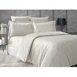 Турецкое постельное белье шелковый сатин жаккард евро GRETA однотонное