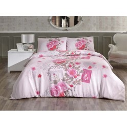 Постельное белье из ранфорса розовое с цветами 1,5 спальное SARDINYA
